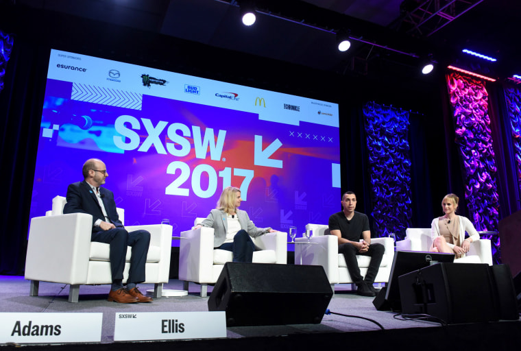 Image: Founder and CEO of Tinder Sean Rad with other panelists at Swiping Right on Inclusivity with Tinder & GLAAD at SXSW 2017 at the Austin Convention Center on March 10, 2017 in Austin, Texas.