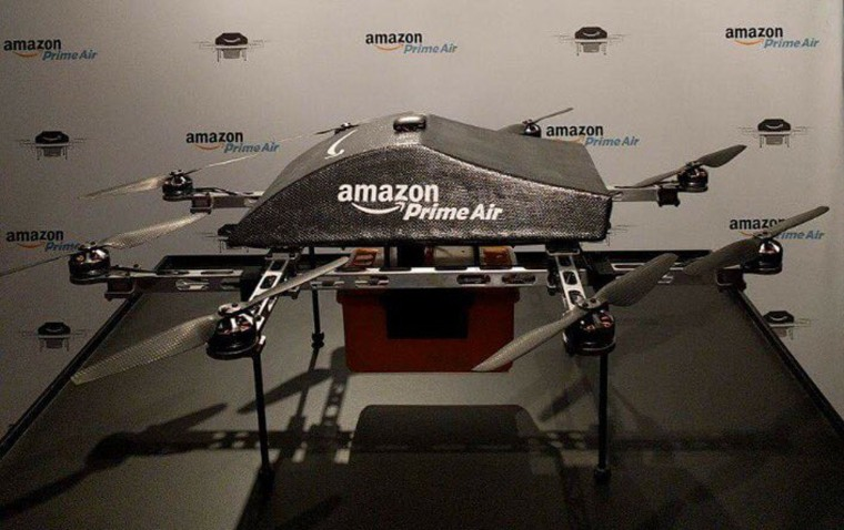Image: For the first time ever, Amazon's Prime Air delivery drone was on display to the public at the SXSW Conference in Austin, Texas.
