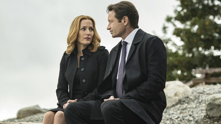 "Gillian Anderson and David Duchovny in the ""Home Again"" episode of THE X-FILES."