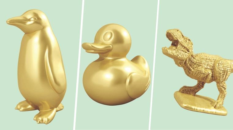 Winning monopoly tokens: penguin, ducky, T-rex