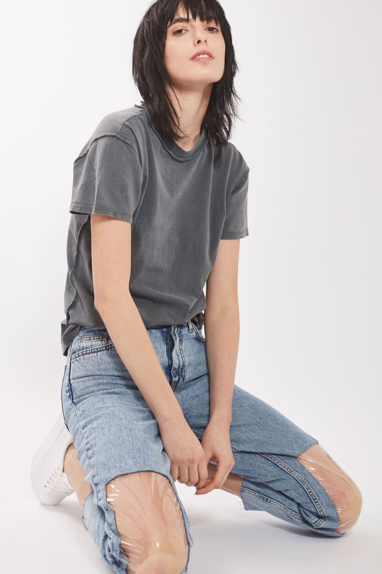 MOTO Clear Panel Mom Jeans