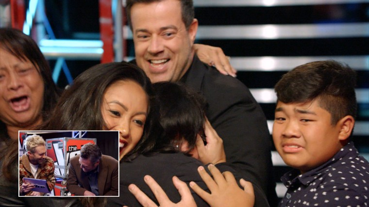"Carson Daly rallies with families backstage at ""The Voice."""