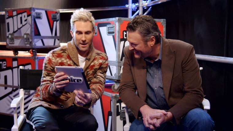 Adam Levine and Blake Shelton poke gentle fun at the cheerleader.