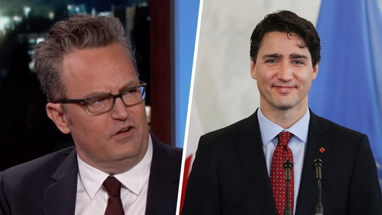 Justin Trudeau, right, turned out fine, despite being bullied by Matthew Perry in grade school.