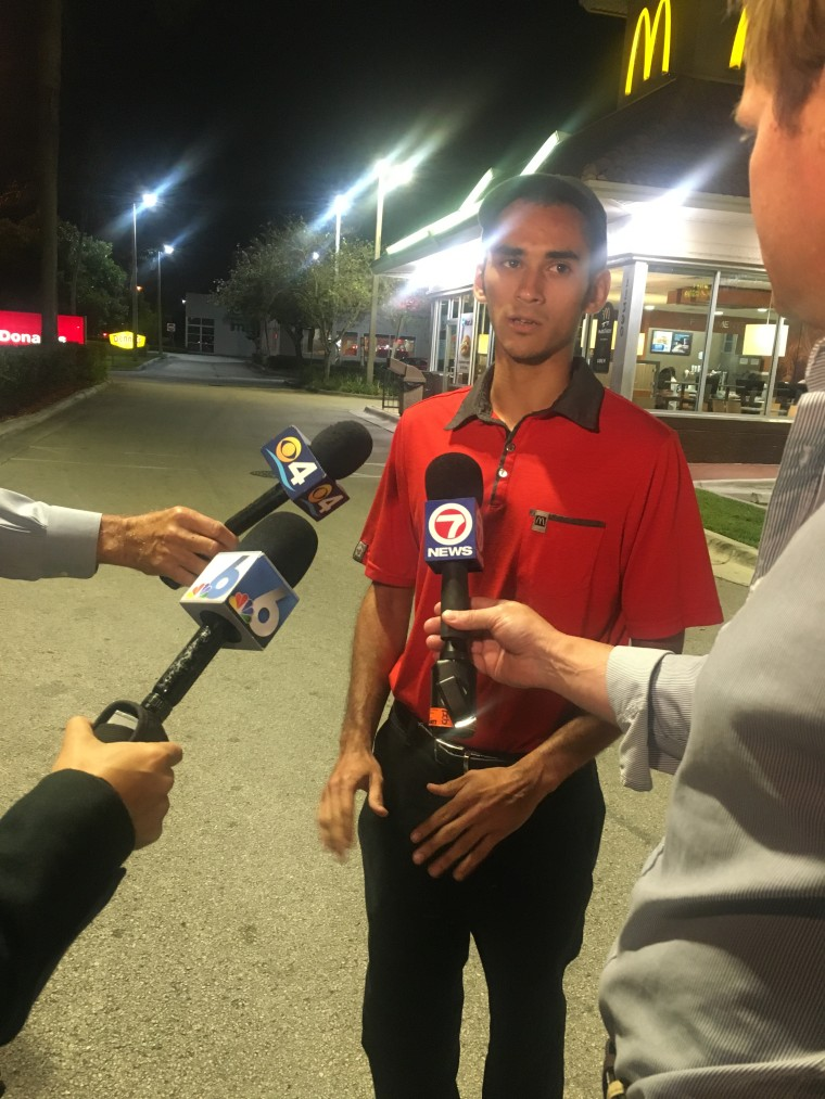 Miami-area McDonald's drive-thru worker Pedro Viloria saved the life of a customer this week.