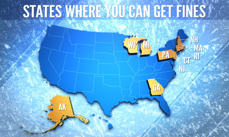States where you can be fined for leaving snow on the roof of your car.