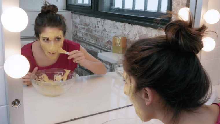 The mask application was a little messy and looked like nacho cheese.