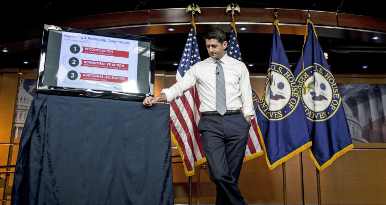 Image: House Speaker Paul Ryan (R-Wis.) discusses the American Health Care Act at a news conference on Capitol Hill in Washington.
