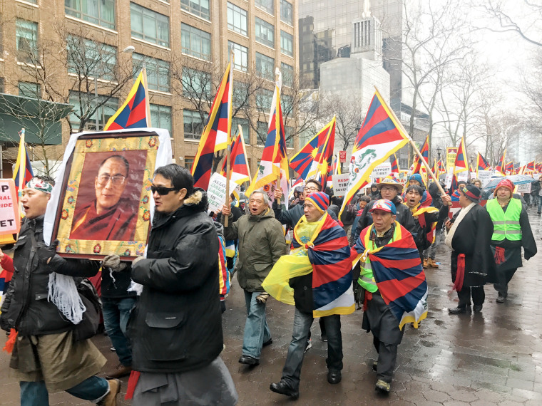 Demonstrators in New York City marched from the United Nations to the Chinese Consulate on Friday, March 10, 2017, to mark the anniversary of Tibetan National Uprising Day and protest claims of political and religious persecution at the hands of the Chine