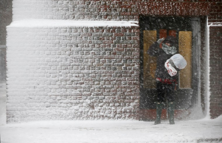 Image: A person stands in the wind-driven snow during a winter storm
