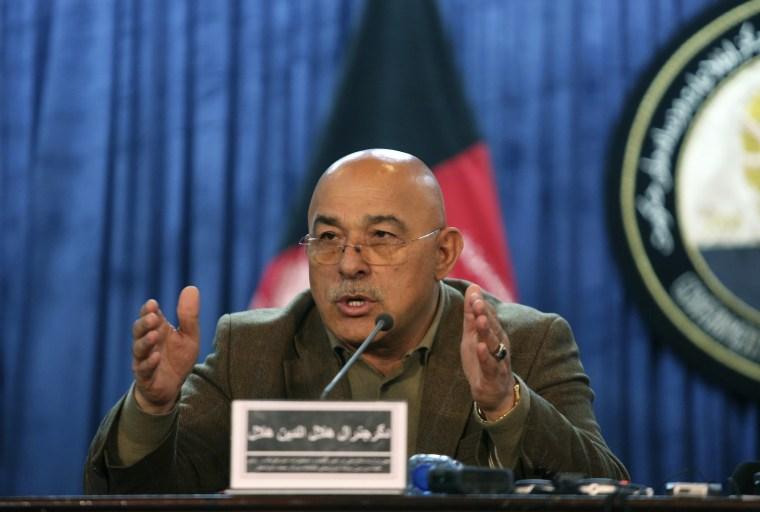 Image: Gen. Helaludin Helal, deputy defense minister speaks during a news conference in Kabul