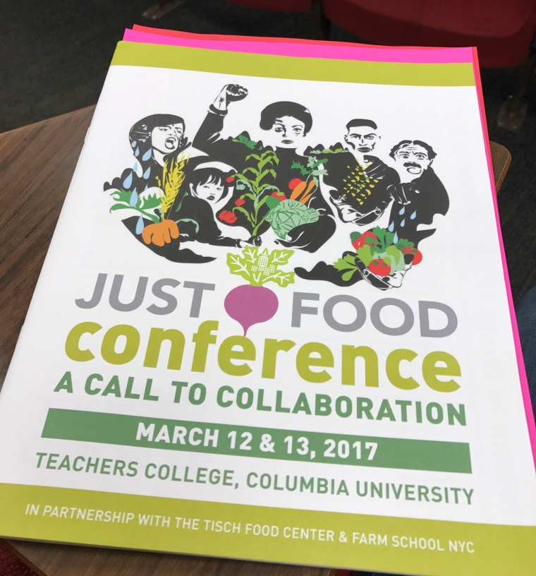 """Program of the """"Just Food"""" Conference at Columbia University."""