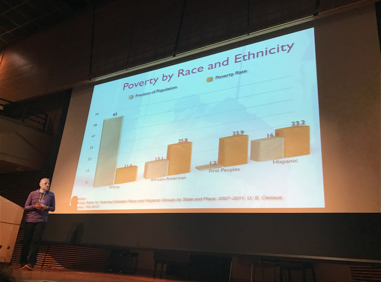 """Dr. Ricardo Salvador uses chart to show how poverty intersects with race and ethnicity during keynote address at """"The Future of Food Justice"""" session."""