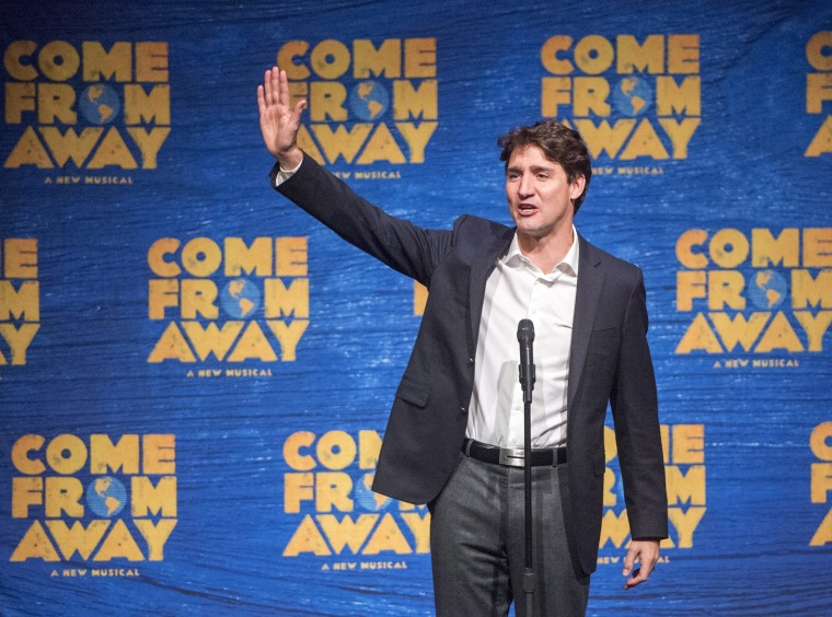 """Image: Justin Trudeau speaks to the audience at the musical """"Come From Away"""""""