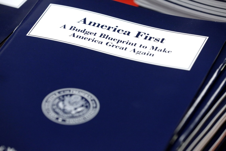 Image: U.S. President Donald Trump's overview of the budget priorities for Fiscal Year 2018 are displayed at the U.S. Government Publishing Office on its release in Washington