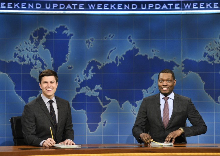 """Colin Jost and Michael Che, right, anchor the Weekend Update segment of """"Saturday Night Live"""" in New York."""