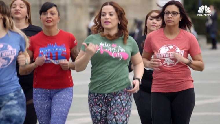 Founder of Latinas in Motion Elaine Gonzalez Johnson and members of the group jog on a Sunday morning.