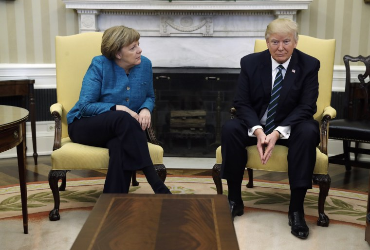 Image: Donald Trump meets with German Chancellor Angela Merkel in the Oval Office