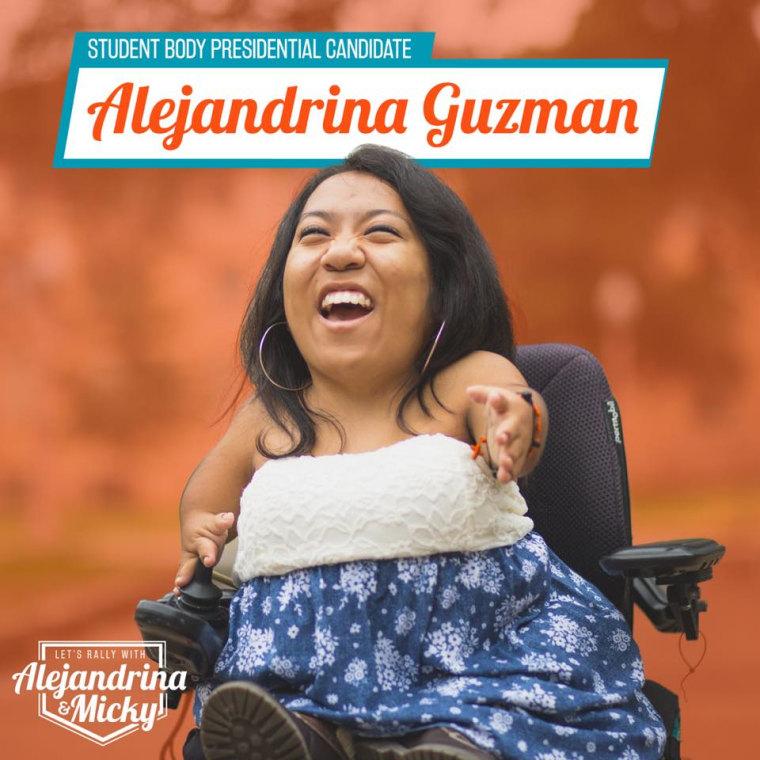 University of Texas president Alejandrina Guzman posing for her campaign photos.