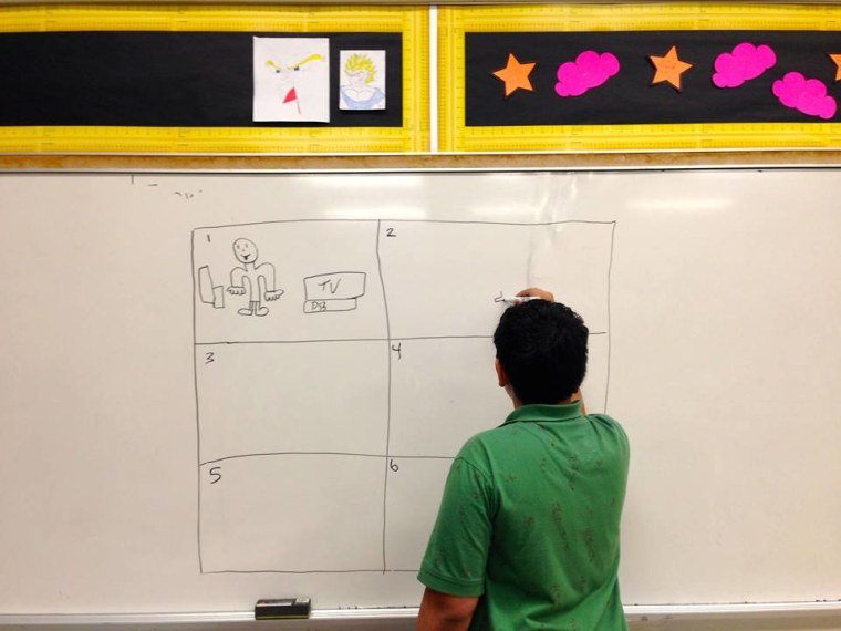 A New York City student crafting a production storyboard.