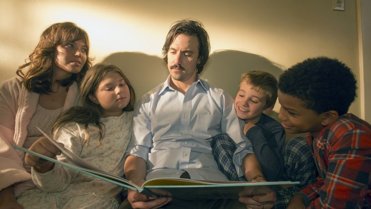 Mandy Moore as Rebecca, Mackenzie Hancsicsak as Kate, Milo Ventimiglia as Jack, Parker Bates as Kevin, Lonnie Chavis as Randal