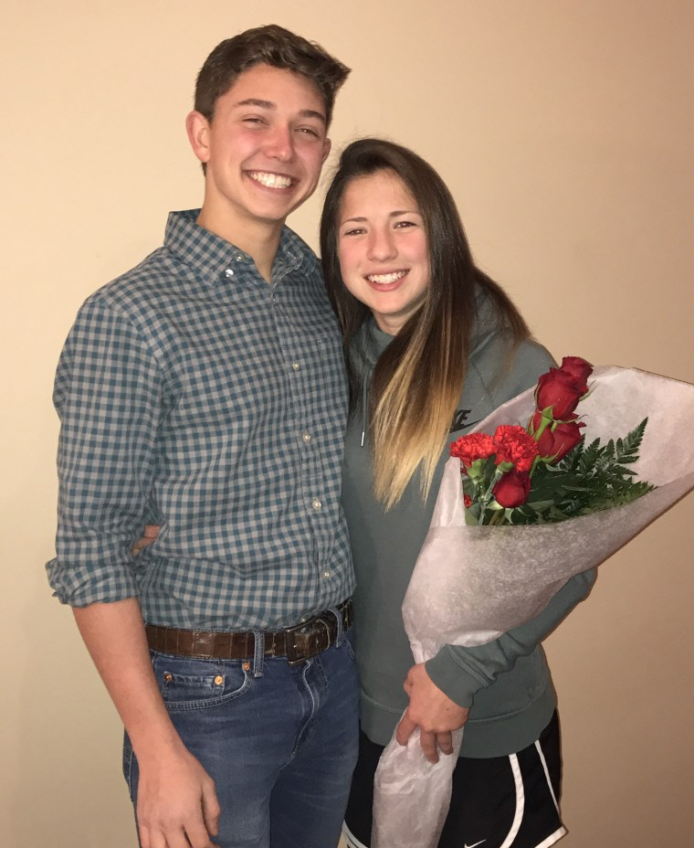 What's your prom date done for you lately? Joran Fuller and Claire Short after he revealed his creative promposal.