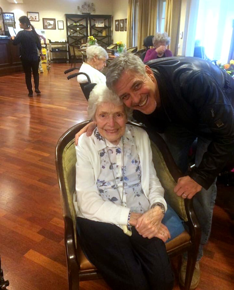 George Clooney visited 87-year-old fan Pat Adams at her assisted living home