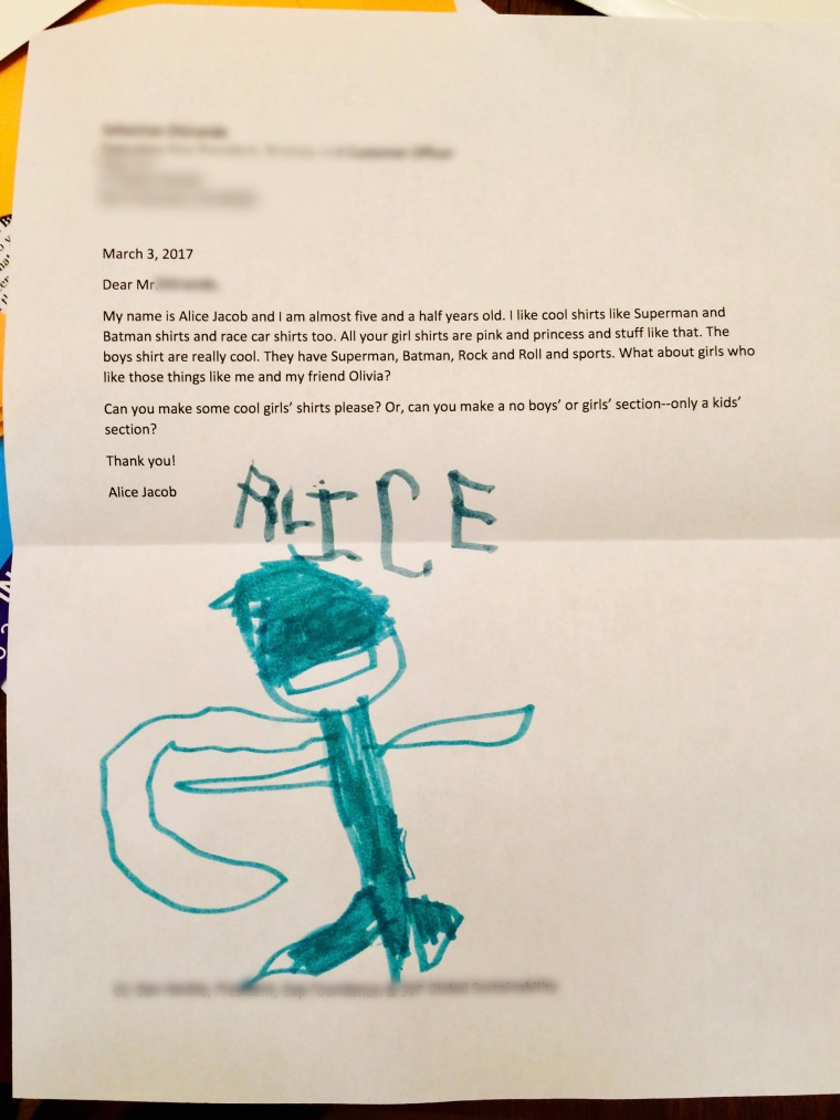 5-year-old girl writes a letter to Gap asking for more gender-neutral clothes.