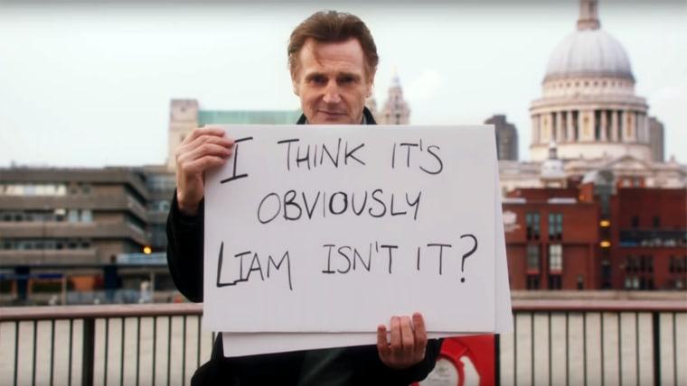 """Liam Neeson """"Love Actually"""" video tease."""