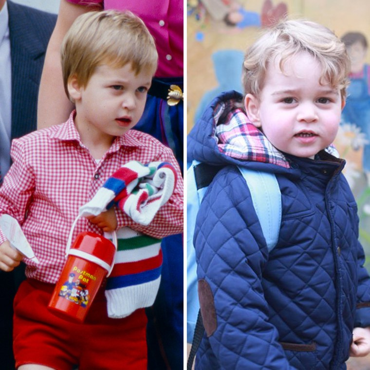 A comparison of two princes, William and his son, George, on their first day of nursery school.