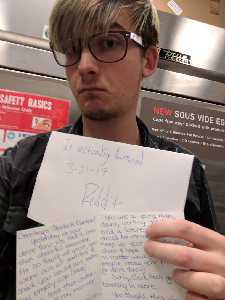 Barista with apology note