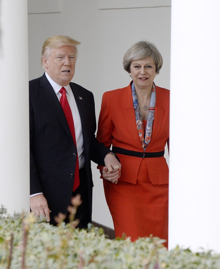 Theresa May: Trump Was 'Being a Gentleman' by Holding My Hand