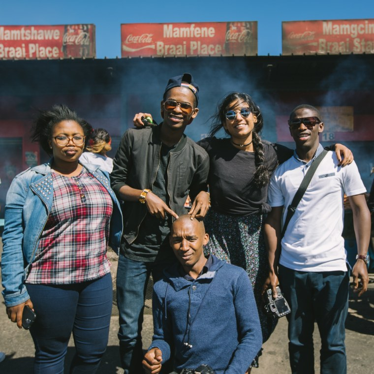 The Babel Project co-founder Palika Makam with a group of activists in Cape Town, South Africa.