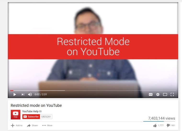"Image: YouTube's ""Restricted Mode"""