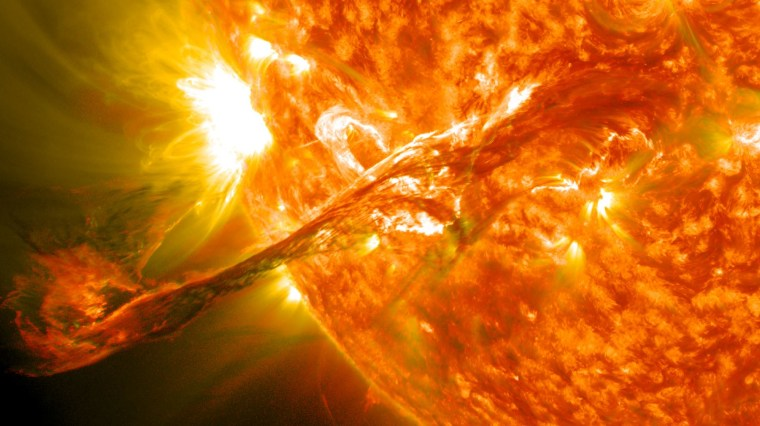 A long filament of solar material erupted out into space on Aug. 31, 2012. The coronal mass ejection traveled at more than 900 miles per second, but did not travel directly toward Earth.