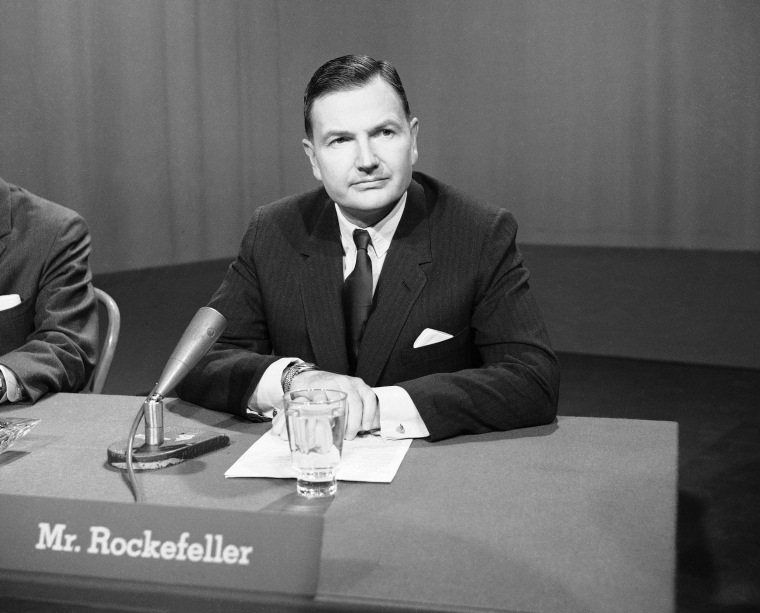 """David Rockefeller, brother of New York's Gov. Nelson Rockefeller and president of the giant Chase Manhattan Bank, appears on NBC's """"Meet the Press"""" in 1963."""
