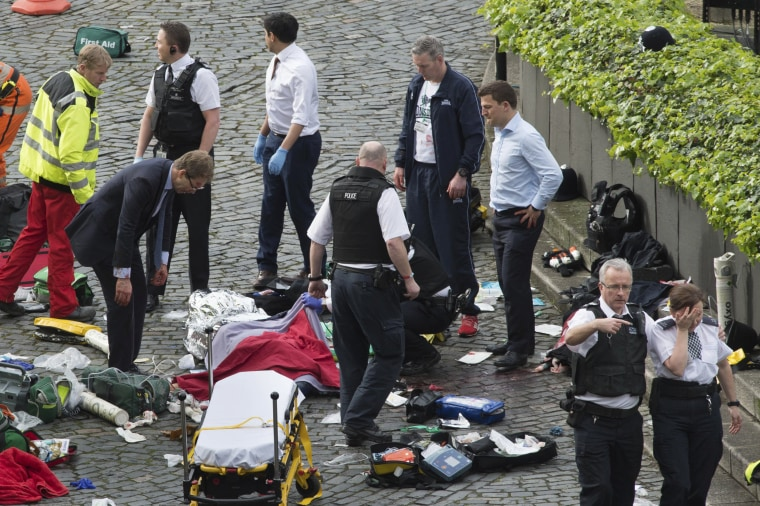 Image: Emergency services at the scene outside the Palace of Westminster