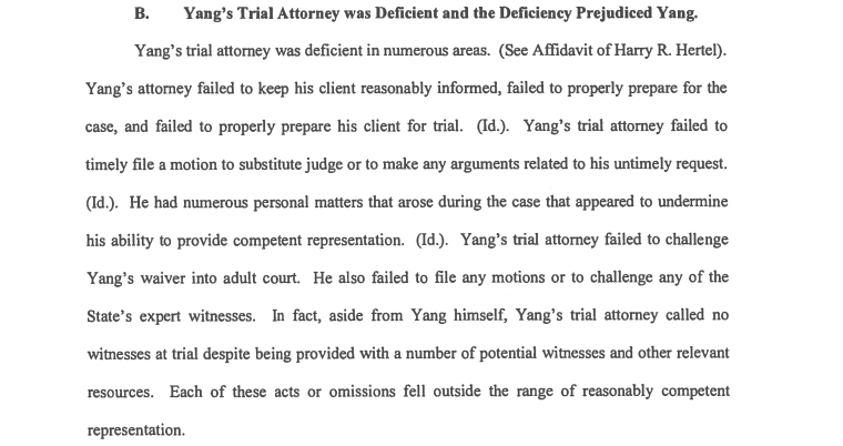 An excerpt of a court filing detailing accusations that Yang's original attorney did not render adequate counsel.