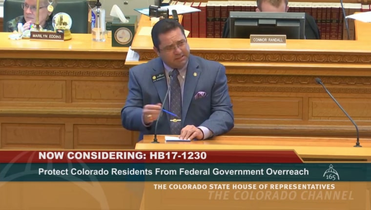 Colorado state Rep. Phil Covarrubias commenting on The Ralph Carr Freedom Defense Act on March 22.