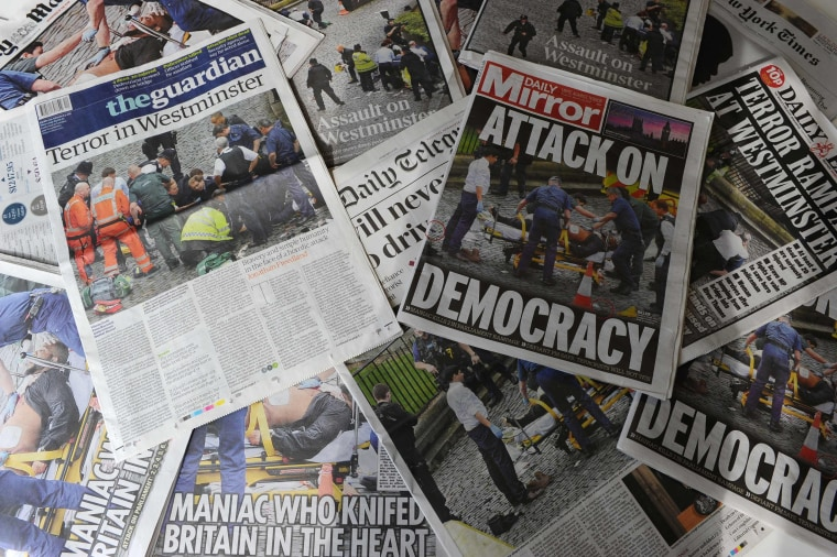Image: British newspapers front pages' report London attack