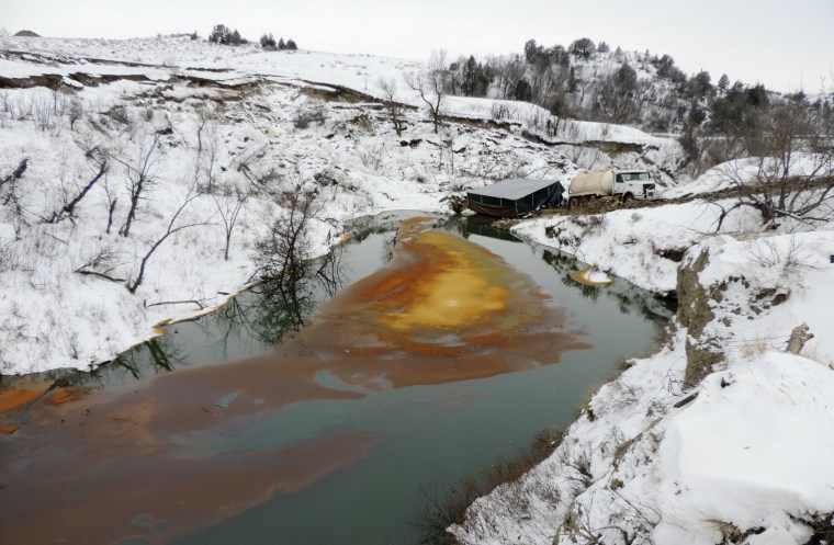 An oil spill from the Belle Fourche Pipeline on Dec. 10, 2016 in Ash Coulee Creek, a tributary of the Little Missouri River, near Belfield, N.D.