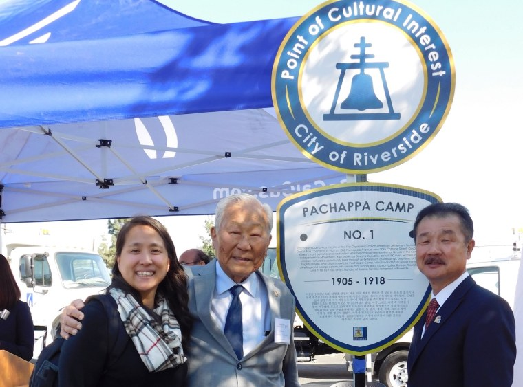 Carol Park, researcher at the Young Oak Kim Center for Korean American Studies; Ralph Ahn, youngest son of Anh Chang Ho; and UC Riverside Professor Edward Chang