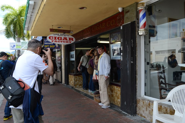 Tourists taking pictures in the Little Havana neighborhood of Miami, March 17, 2017.