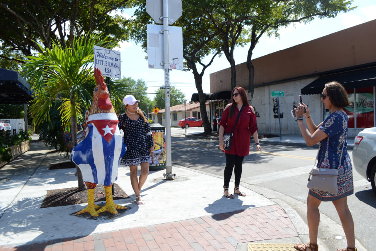 Tourists posing for pictures in Little Havana, in Miami, March 17, 2017.