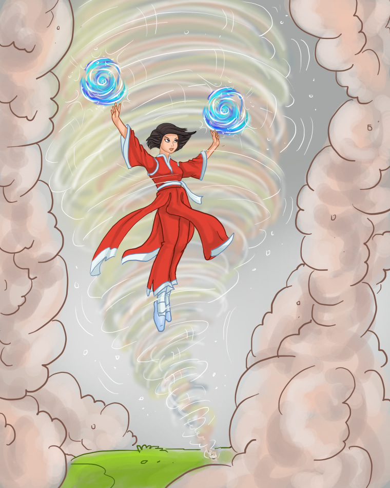Princess Ten Ten fights back against air pollution using her Tiandao wind powers