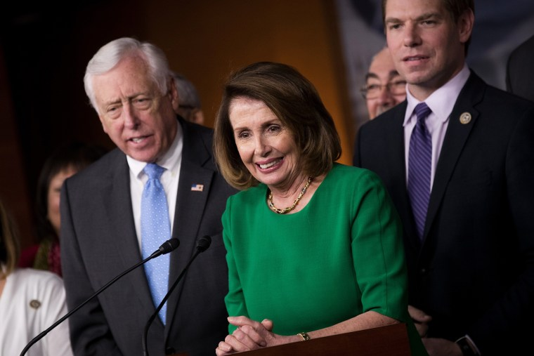 Image: Pelosi holds a news conference after the health care overhaul bill was pulled