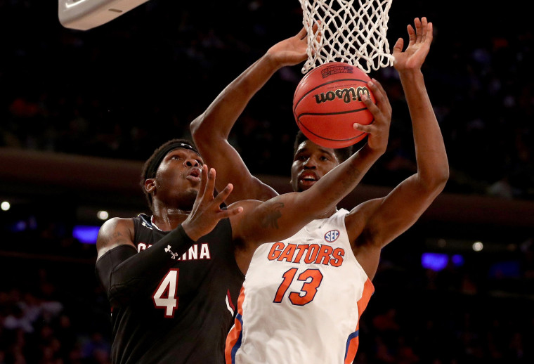 Image: Rakym Felder #4 of the South Carolina Gamecocks shoots the ball against Kevarrius Hayes #13 of the Florida Gators during the 2017 NCAA Men's Basketball Tournament East Regional at Madison Square Garden on March 26, 2017.