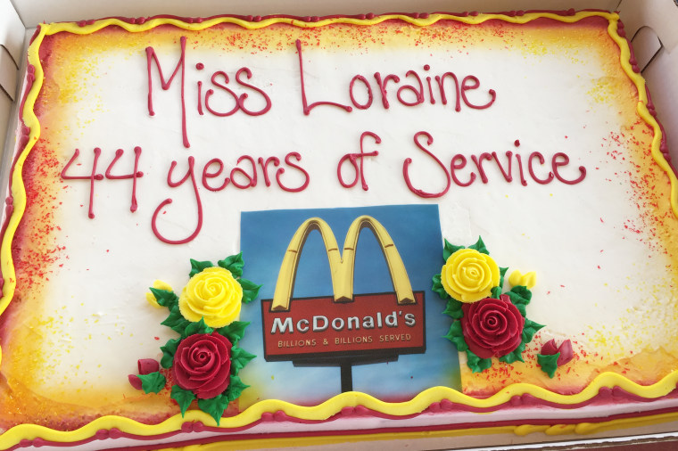 Loraine Maurer, a 94-year-old woman who recently celebrated her 44th anniversary of working at McDonald's.
