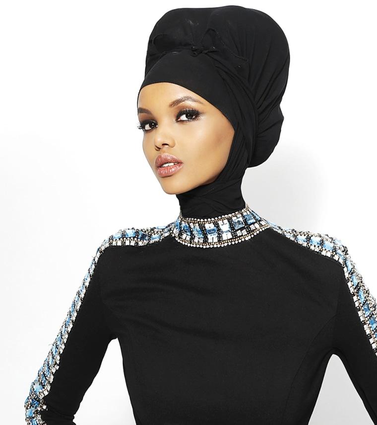 Halima Aden models for Sherri Hill