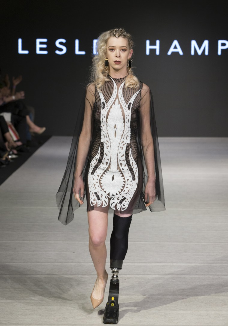 Adrianne Haslet walking in Lesley Hampton's show at Vancouver Fashion Week